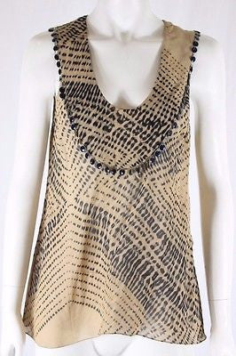 Willow Brown Black Silk Beaded Sleeveless Cami Top Size AU 10 US 6 FR 38 IT 42