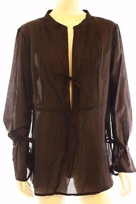 Seafolly Dark Brown Sheer Cotton Beach Shirt Top Coverup Bell Sleeves Size 12
