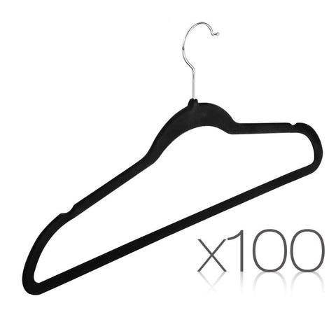Bulk Black Velvet No Slip Flock Slim Closet Clothes Coat Hangers Swivel Hook 100