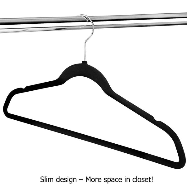 Bulk Black Velvet No Slip Flock Slim Closet Clothes Coat Hangers Swivel Hook 200