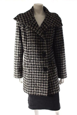 Anthea Crawford Black White Wool Blend Single Breasted Jacket Coat Size 14