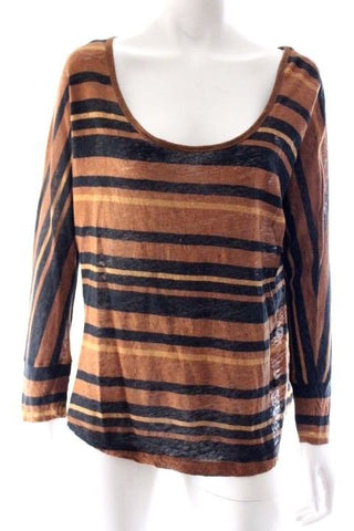 Witchery Brown Black Stripe Cropped Sleeve Linen Knit Top Size M
