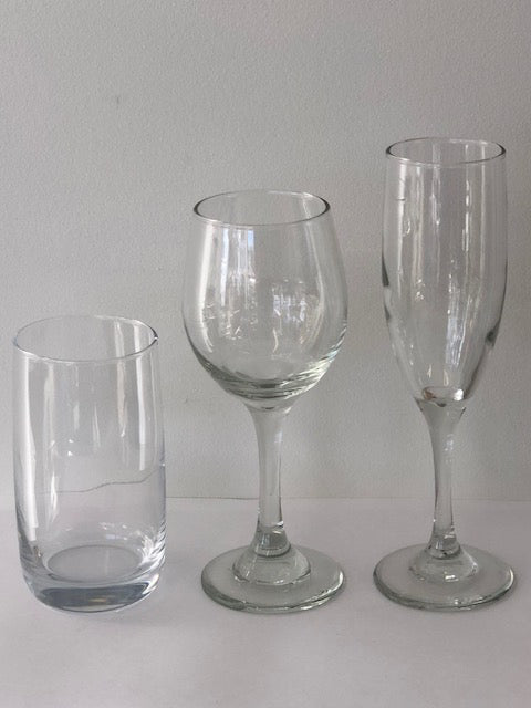 Champagne, Medium Wine and Water glass set.