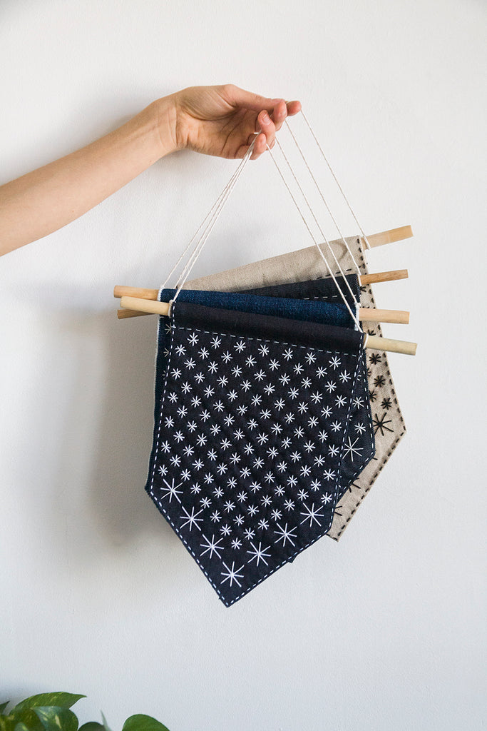 New DIY Kit! Make your own Starry Sashiko Banner