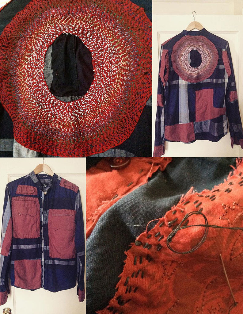 collage of images of a red and blue shirt pieced together with lots of stitching