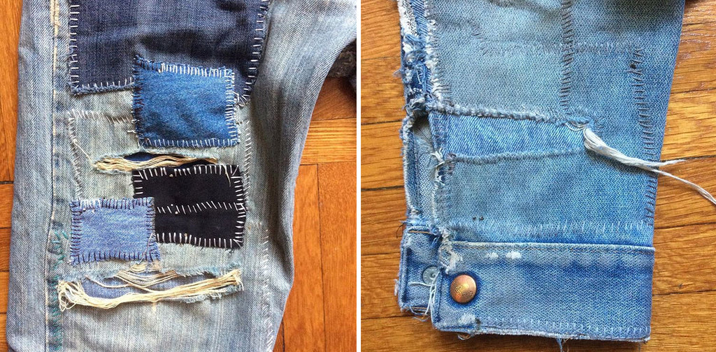 blue denim patches stitched onto a denim pant leg and denim sleeve