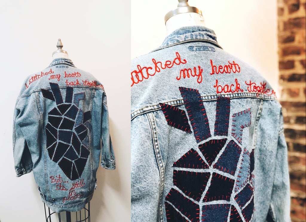 Alysson Reinert, denim jacket, custom denim, upcycle