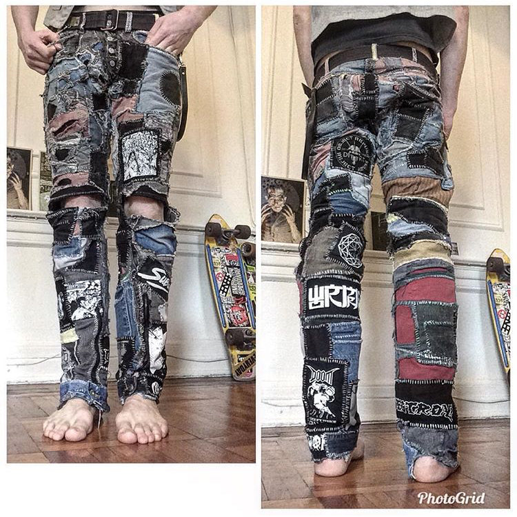 heavily patched pants