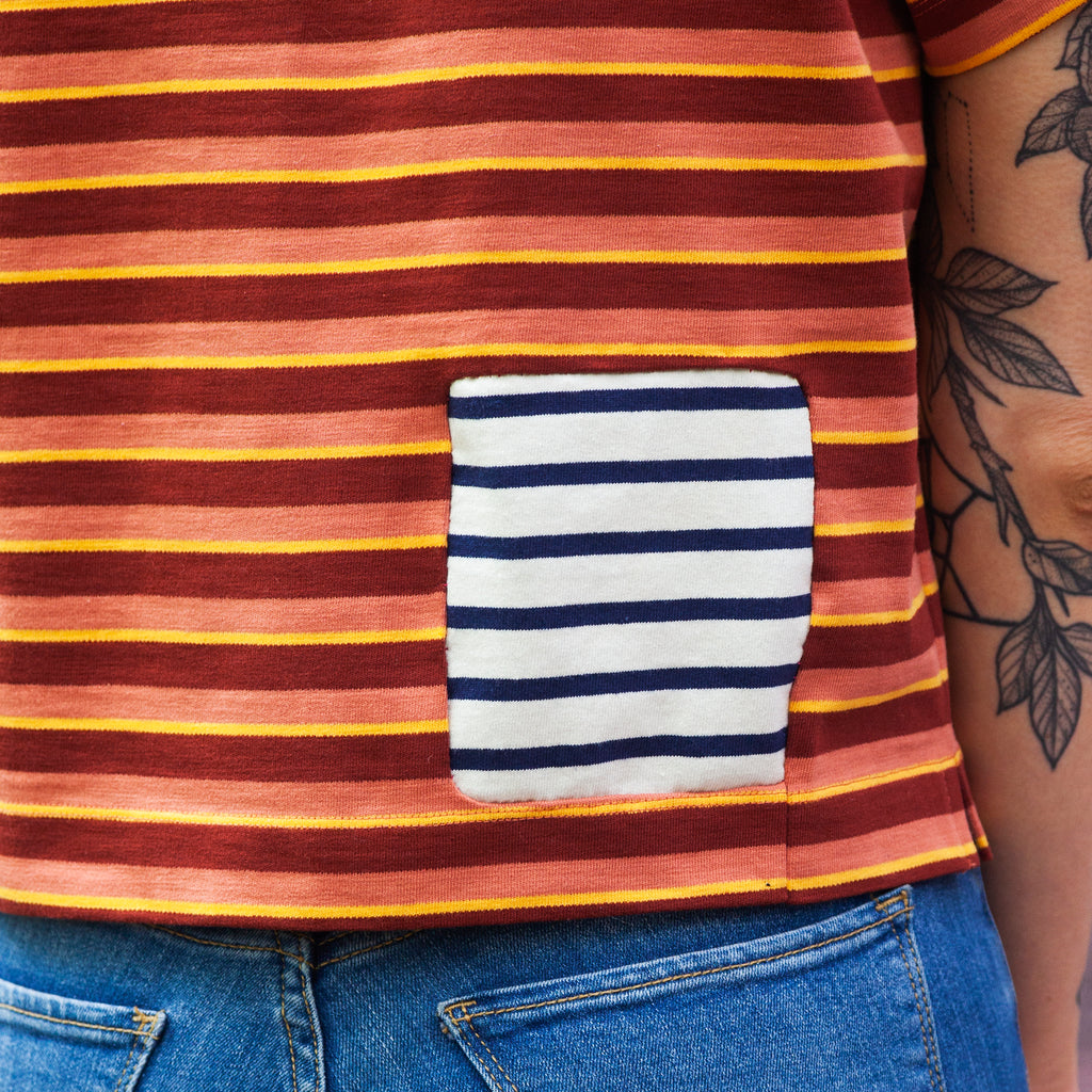 stripe shirt with stripe patch, close up, and tightly cropped on body