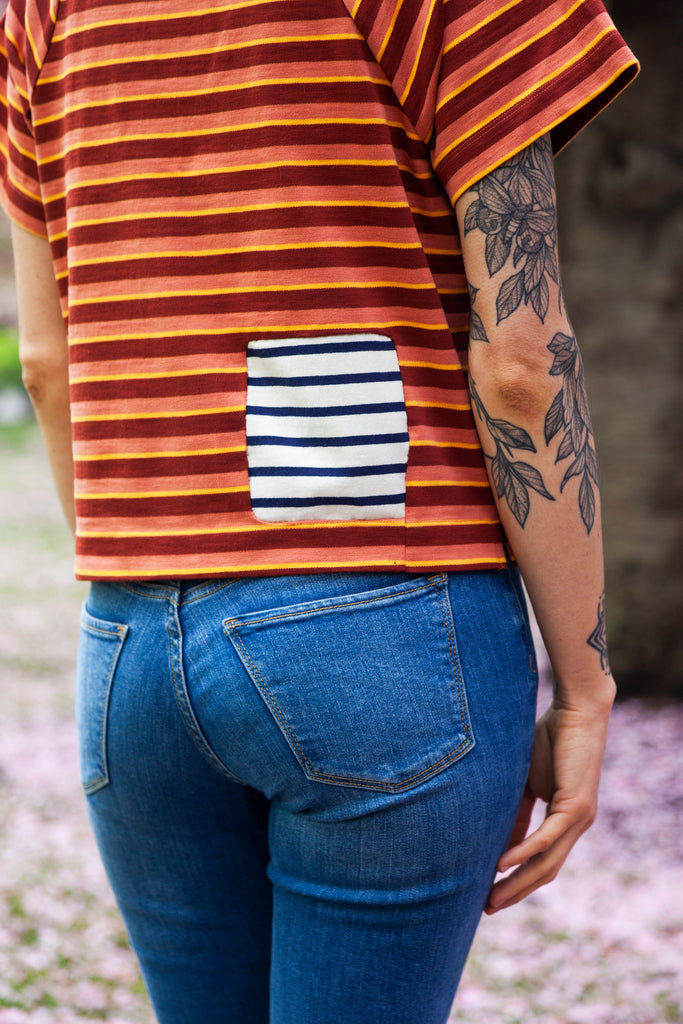 stripe shirt with patch