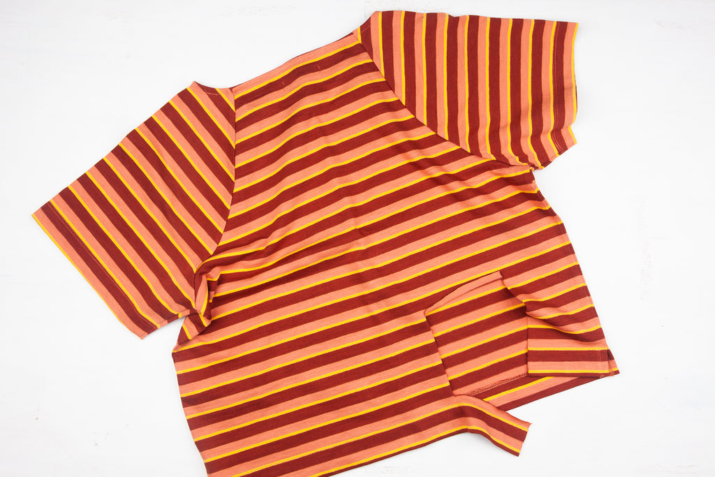 stripe cotton shirt with large hole