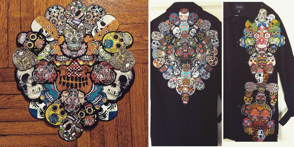 skull patches arranged in a mandala on a coat