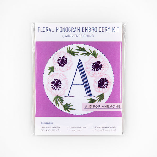 A is for Anemone, Floral Monogram Embroidery Kit - Personalized Gift, DIY