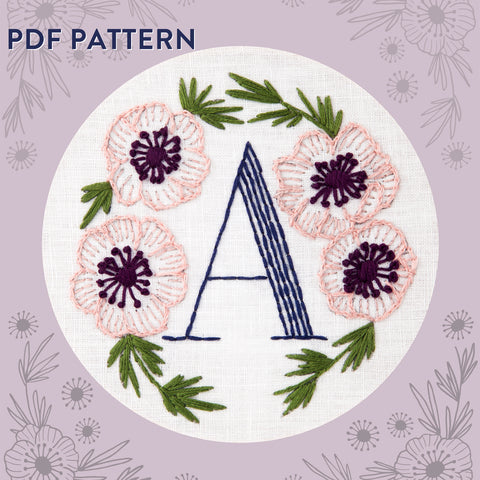 Floral Monogram A is for Anemone- PDF Pattern Instant Download