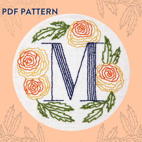 Floral Monogram M is for Marigold- PDF Pattern Instant Download