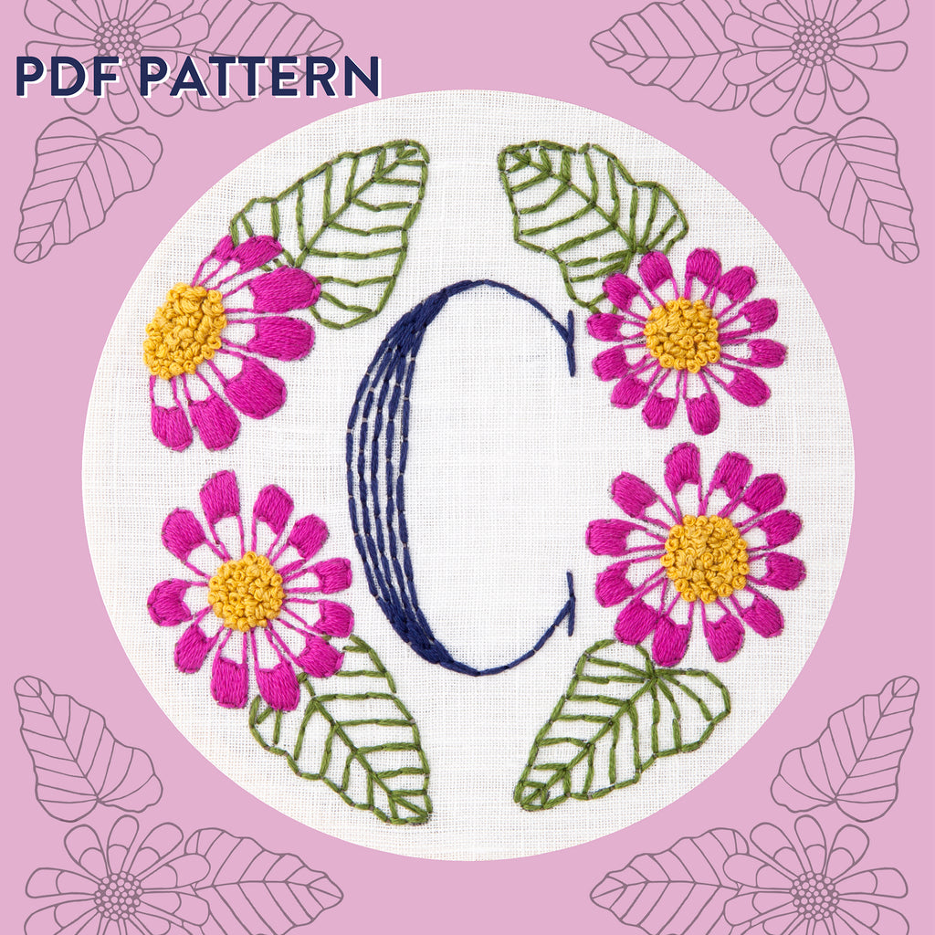 Floral Monogram C is for Cineraria- PDF Pattern Instant Download
