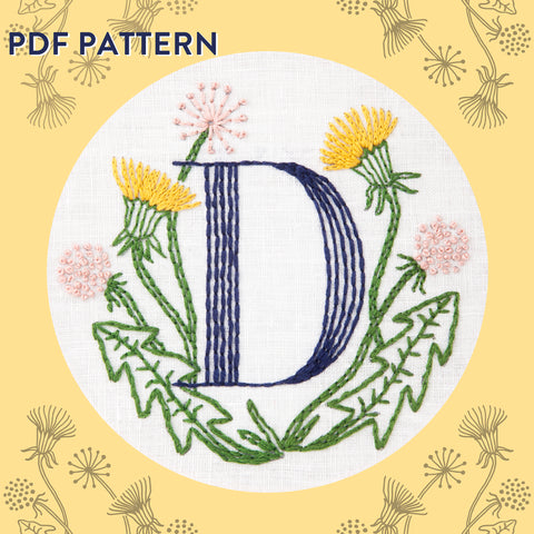 Floral Monogram D is for Dandelion- PDF Pattern Instant Download