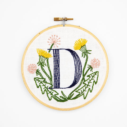 D is for Dandelion, Floral Monogram Embroidery Kit
