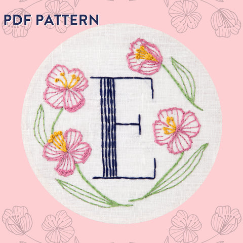 Floral Monogram E is for Evening Primrose- PDF Pattern Instant Download