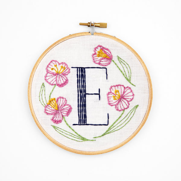E is for Evening Primrose, Floral Monogram Embroidery Kit