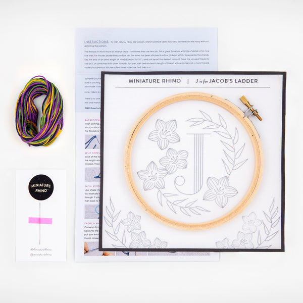 J is for Jacob's Ladder, Floral Monogram Embroidery Kit
