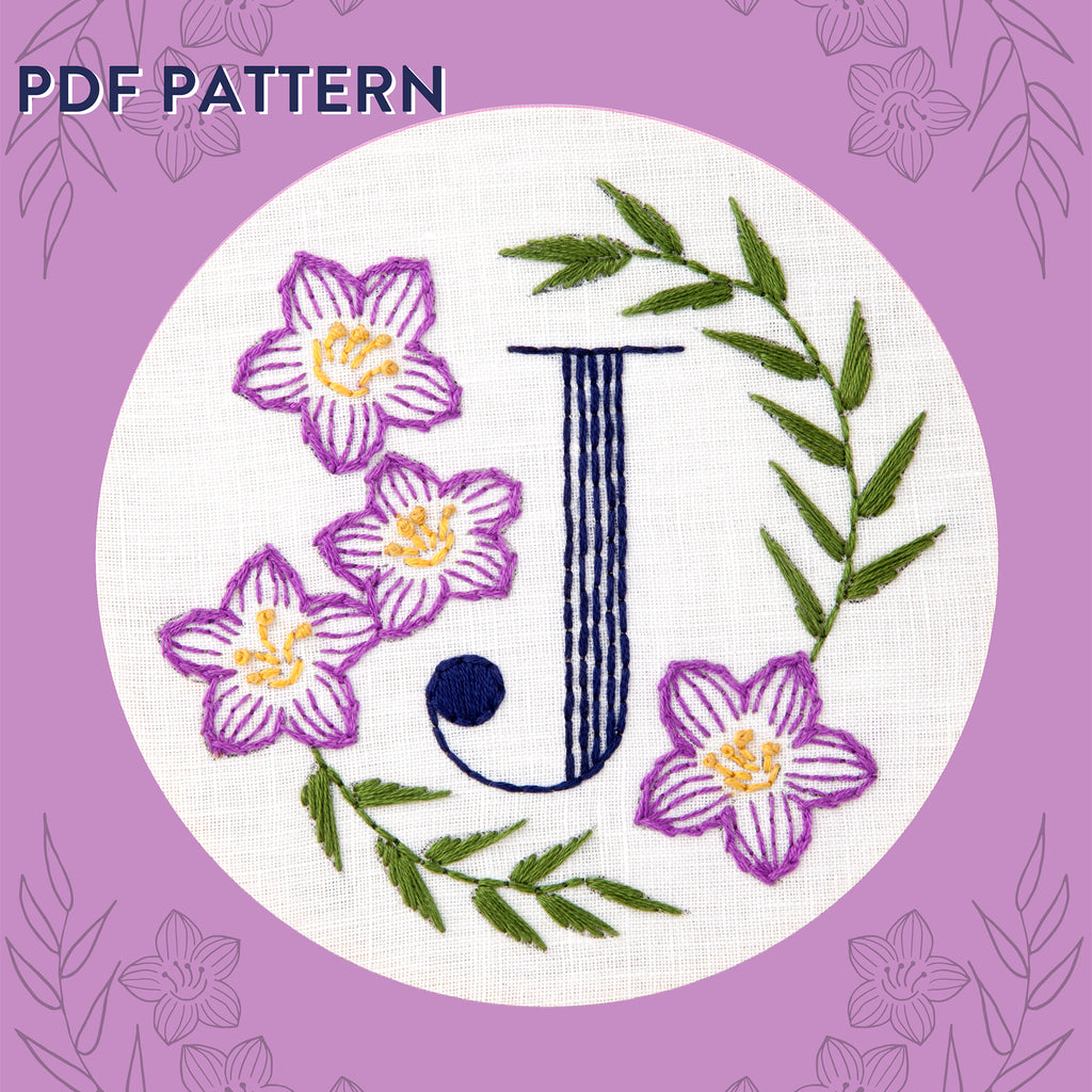 Floral Monogram J is for Jacob's Ladder- PDF Pattern Instant Download