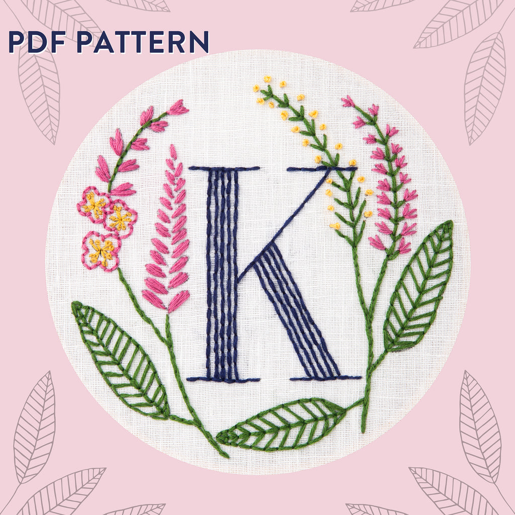 Floral Monogram K is for Knotweed- PDF Pattern Instant Download