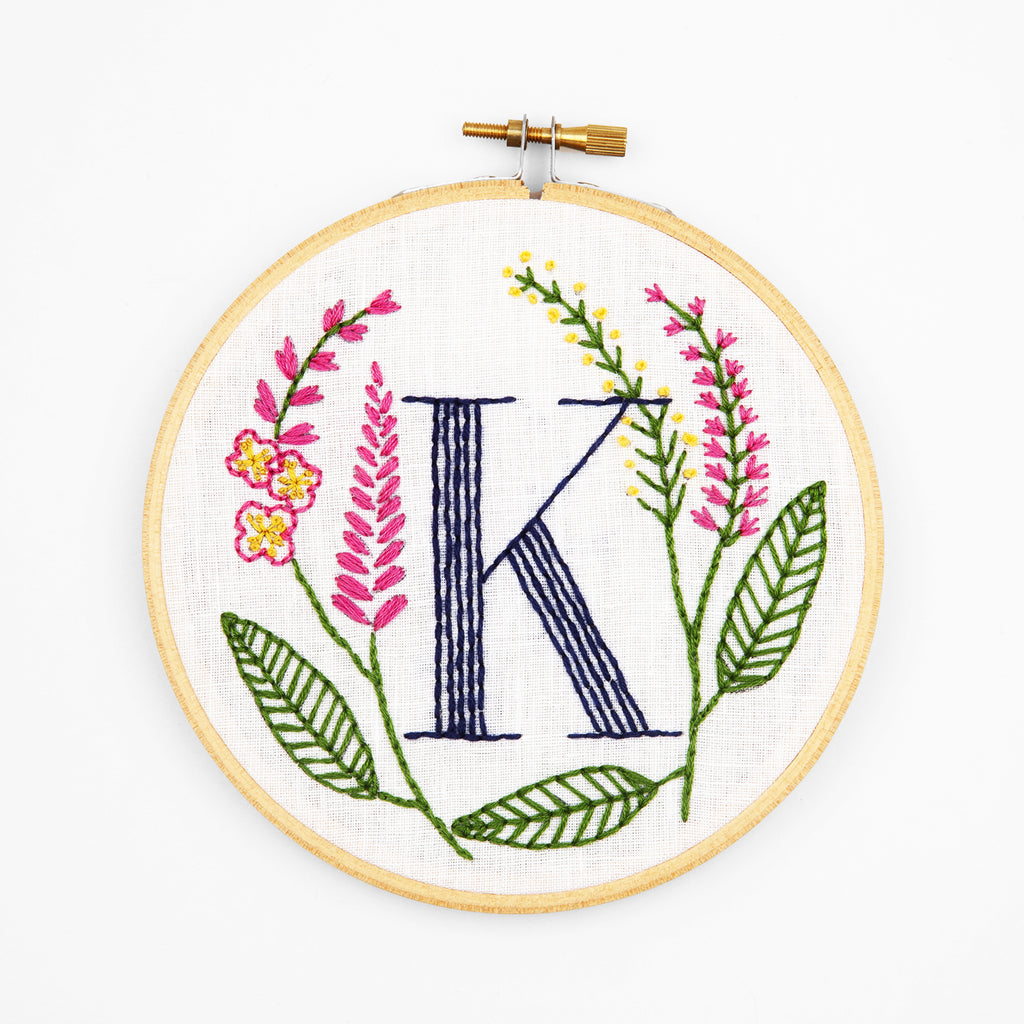 K is for Knotweed, Floral Monogram Embroidery Kit
