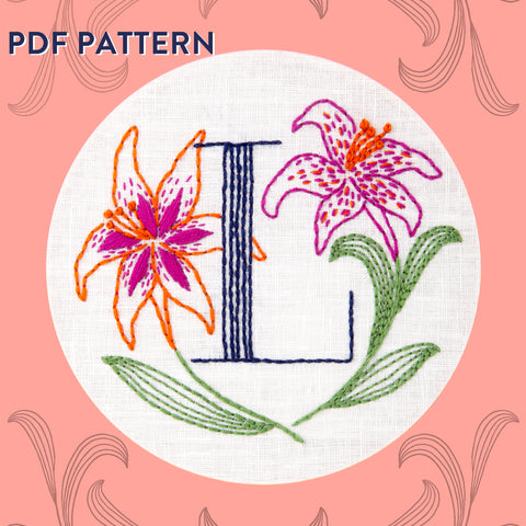 Floral Monogram L is for Lily- PDF Pattern Instant Download