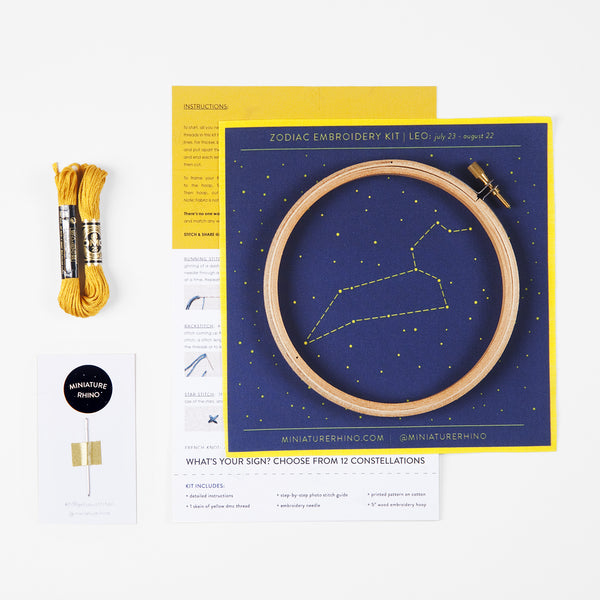 Leo Zodiac Constellation Embroidery Kit