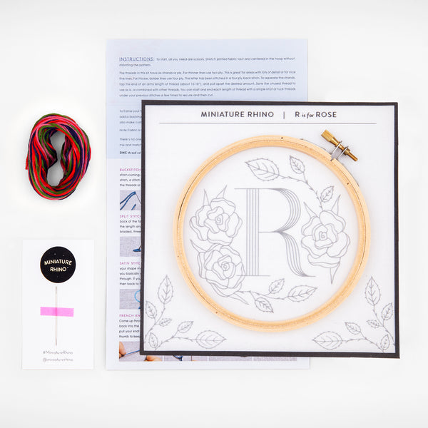 R is for Rose, Floral Monogram Embroidery Kit