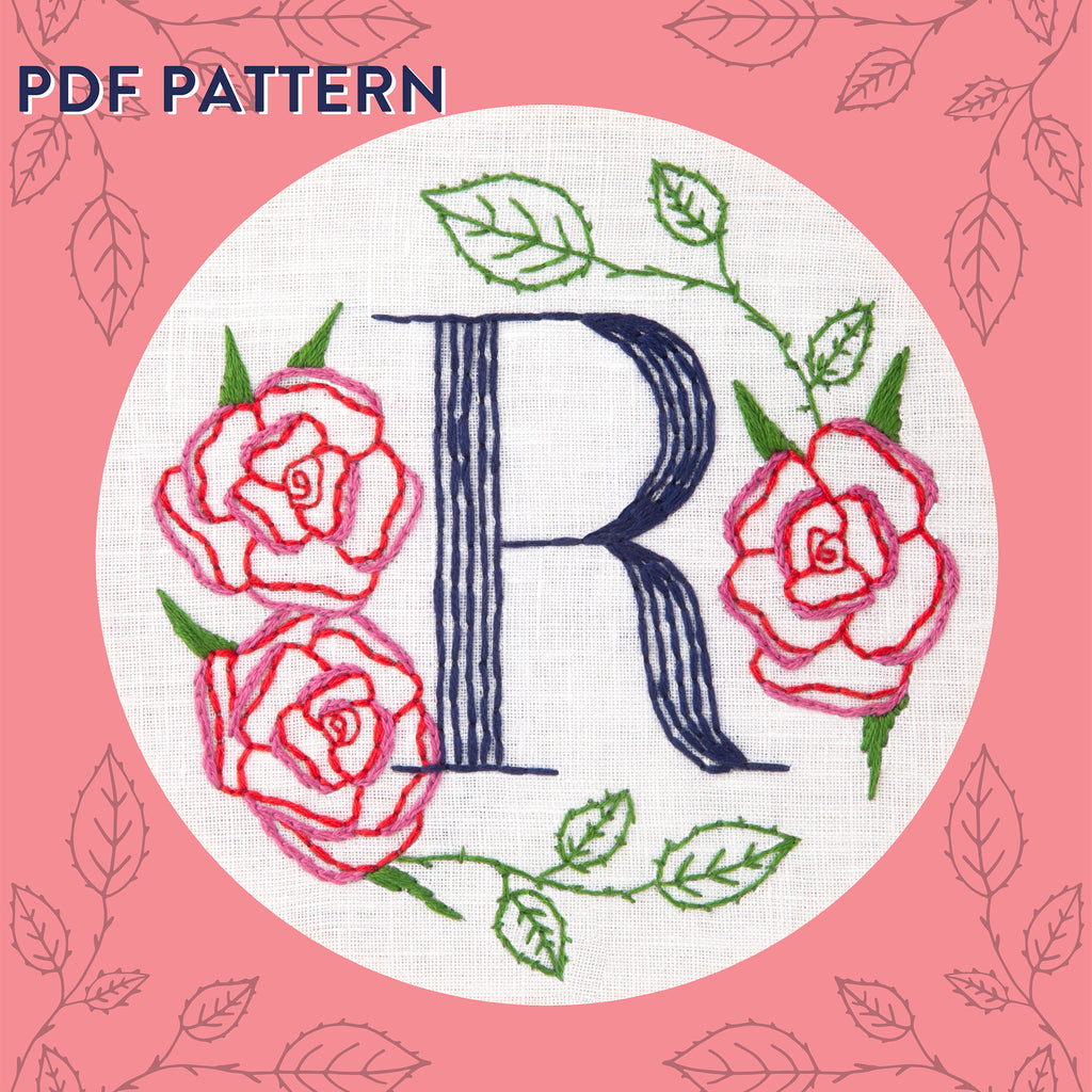 Floral Monogram R Is For Rose Pdf Pattern Instant Download Miniature Rhino