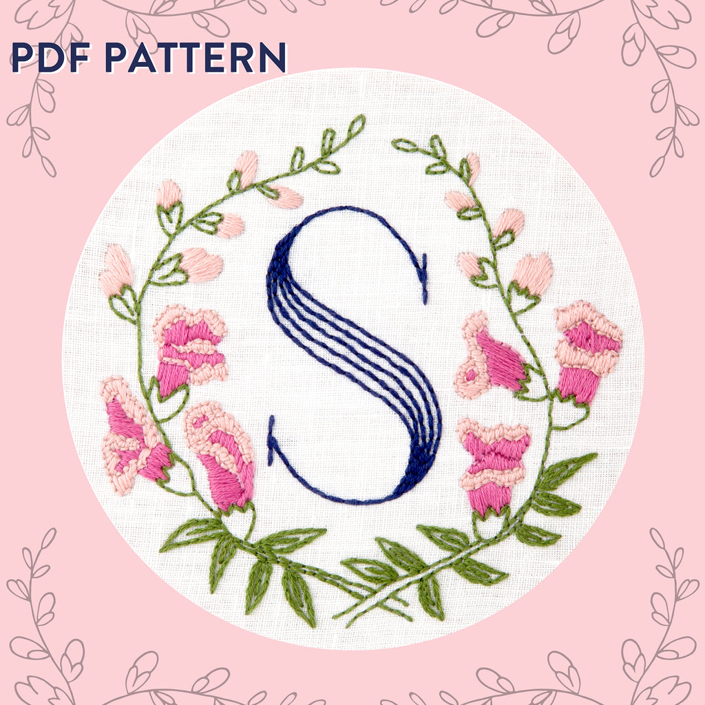 Floral Monogram S is for Snapdragon- PDF Pattern Instant Download