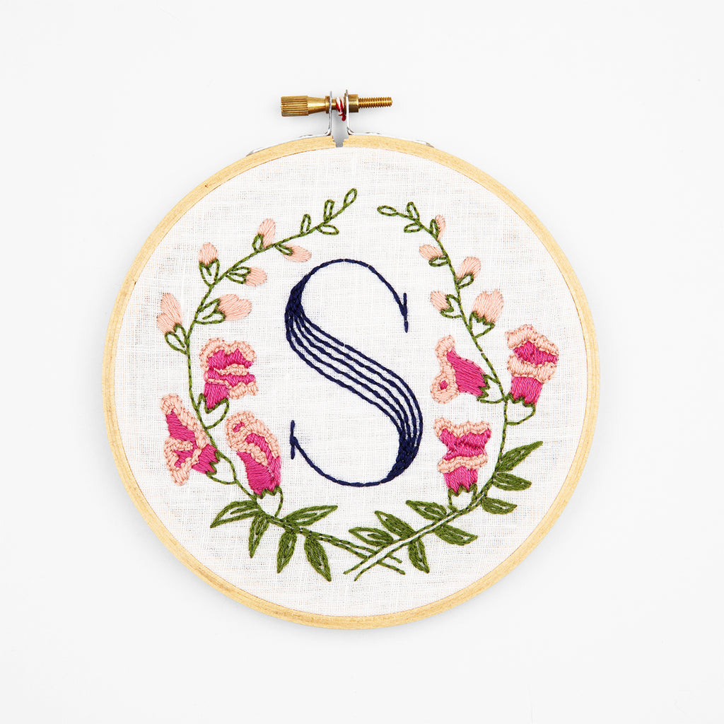 S is for Snapdragon, Floral Monogram Embroidery Kit