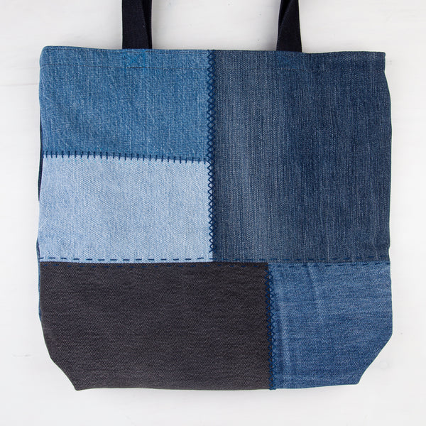 Patchwork + Sashiko Denim Tote 1