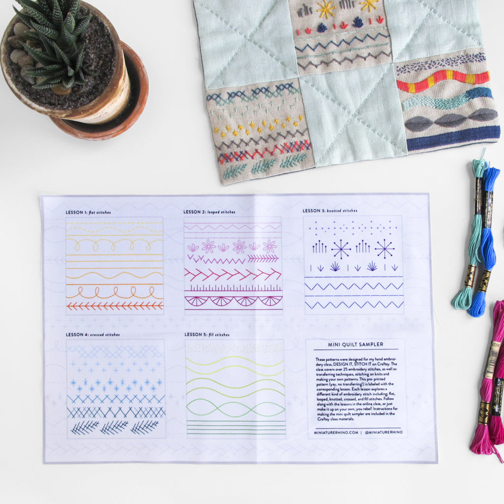 Embroidery Sampler Pre-Printed Fabric Pattern - Make a Mini Quilt