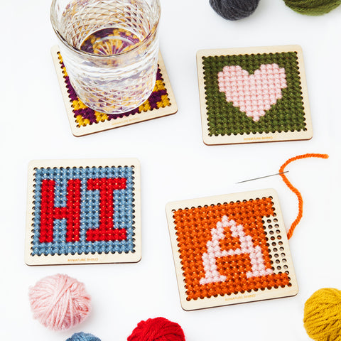 DIY Cross Stitch Wood Coaster Kit- Set of Four, Customizable Monogram, Embroidery Kit