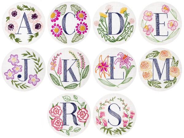 Three Floral Monogram Embroidery Kits
