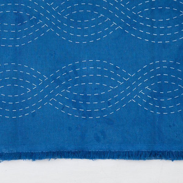 Waves- Indigo Dyed Silk Screened Embroidery Pattern