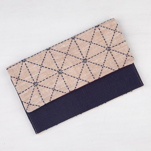 Pink & Navy Sashiko Stitched Clutch