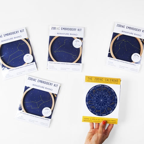 Four Zodiac Constellation Embroidery Kits