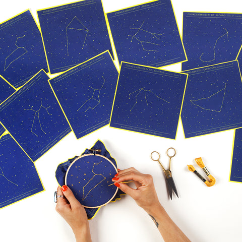 Three Zodiac Constellation Embroidery Kits