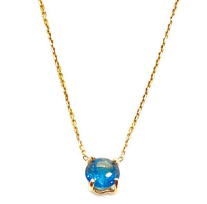 14k Yellow Gold Solitaire Blue Topaz Necklace
