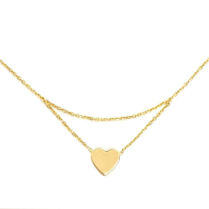 14k Yellow Gold Drop Chain Heart Charm Necklace