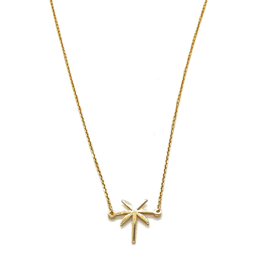 14k Yellow Gold Mini Palm Tree Charm Necklace