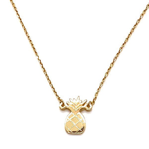 14k Yellow Gold Mini Pineapple Charm Necklace