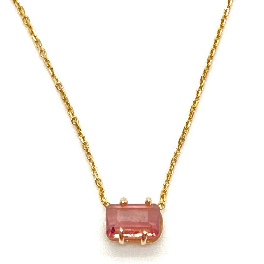 14k Yellow Gold Baguette Shaped Pink Tourmaline Stone Necklace