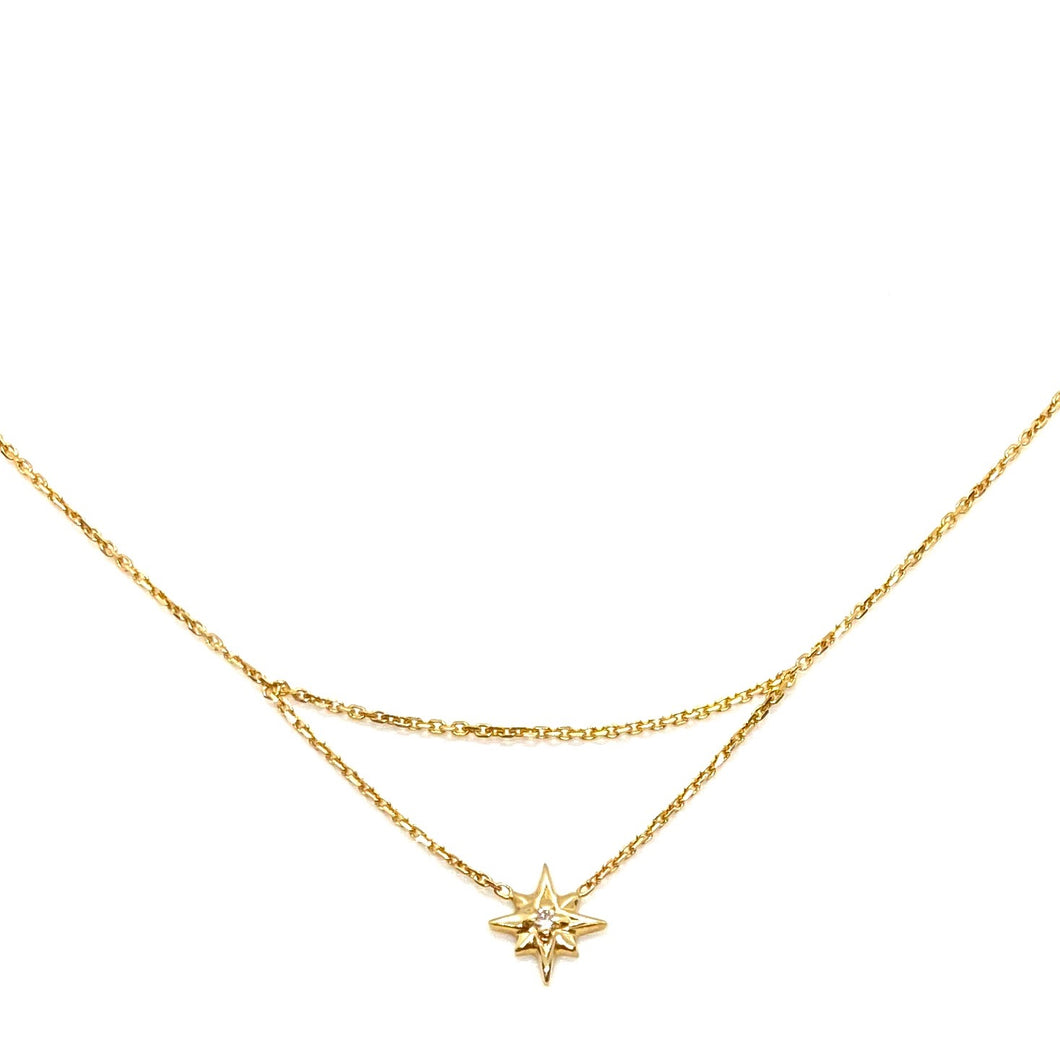 14k Gold & Diamond Drop Chain North Star Charm Necklace