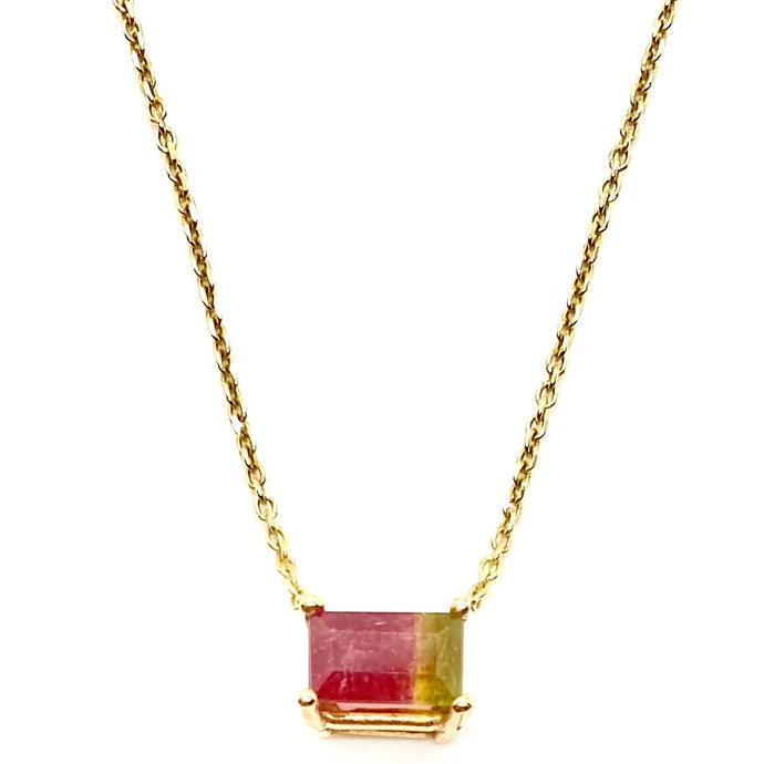 14k Yellow Gold Baguette Watermelon Tourmaline Stone Necklace