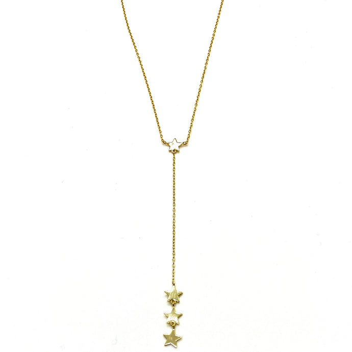 18k Yellow Gold Vermeil 4-Star Charm Lariat Necklace